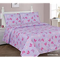 Elegant Home Butterflies Multicolor Pink Purple 4 Piece Printed Full Size Sheet Set with Pillowcases Flat Fitted Sheet for Girls / Kids/ Teens # Butterfly Pink (Full)