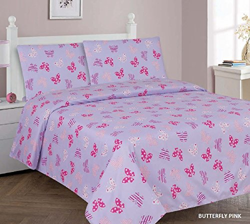 Elegant Home Butterflies Multicolor Pink Purple 3 Piece Printed Twin Size Sheet Set with Pillowcases Flat Fitted Sheet for Girls / Kids/ Teens # Butterfly Pink (Twin) (Set Twin Printed)