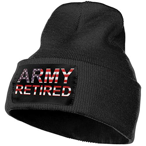 (Mens and Womens 100% Acrylic Knitted Hat Cap, Retired Army USA Flag Original Beanie Hat Black)