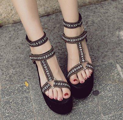 ZHUDJ Der Hang Mit Hochhackigen Sandalen_Wasserdicht Peep Toe Pumps Keilabsatz High-Heeled Sandals Thirty-four