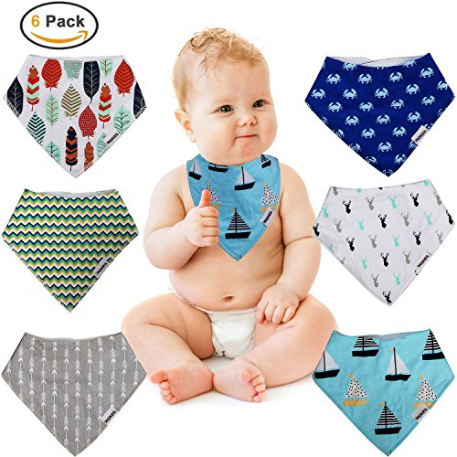 Baby Bandana Drool Bibs,6-pack Organic Cotton Soft Absorbent for boys girls by MONEIL (Image #4)