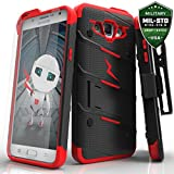Samsung Galaxy J7 Case, Zizo [Bolt Series] with FREE [Galaxy J7 Screen Protector] Kickstand [12 ft. Military Grade Drop Tested] Holster - J7 2015