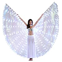 Dance Fairy Belly Dance LED Isis Wings with Stick(White)