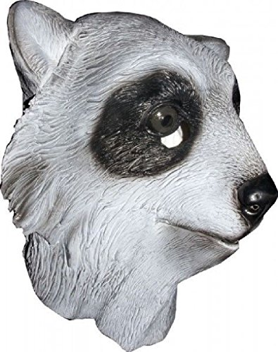 [Ponce Full Raccoon Mask Latex Head DELUXE Costume Racoon Face Dress] (Deluxe Cow Mask)