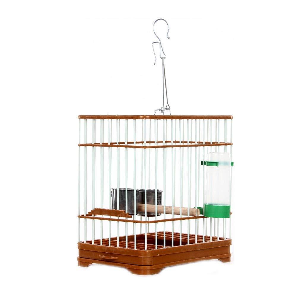 Birdcage Vintage Chinese Wind Bird Cage Brown Bird Bathing Cage Plastic Belt Stainless Steel Hook Birdcage Base by ZWS Bird Cage