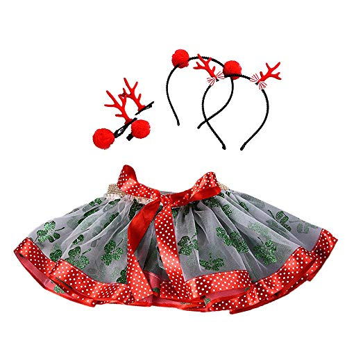 (Clearance Christmas Little Girls Princess Red Dress Up Fluffy Tulle Skirt Tutu Skirt Ballet Fancy Party Skirt Hair Hoop Set (Green B,)