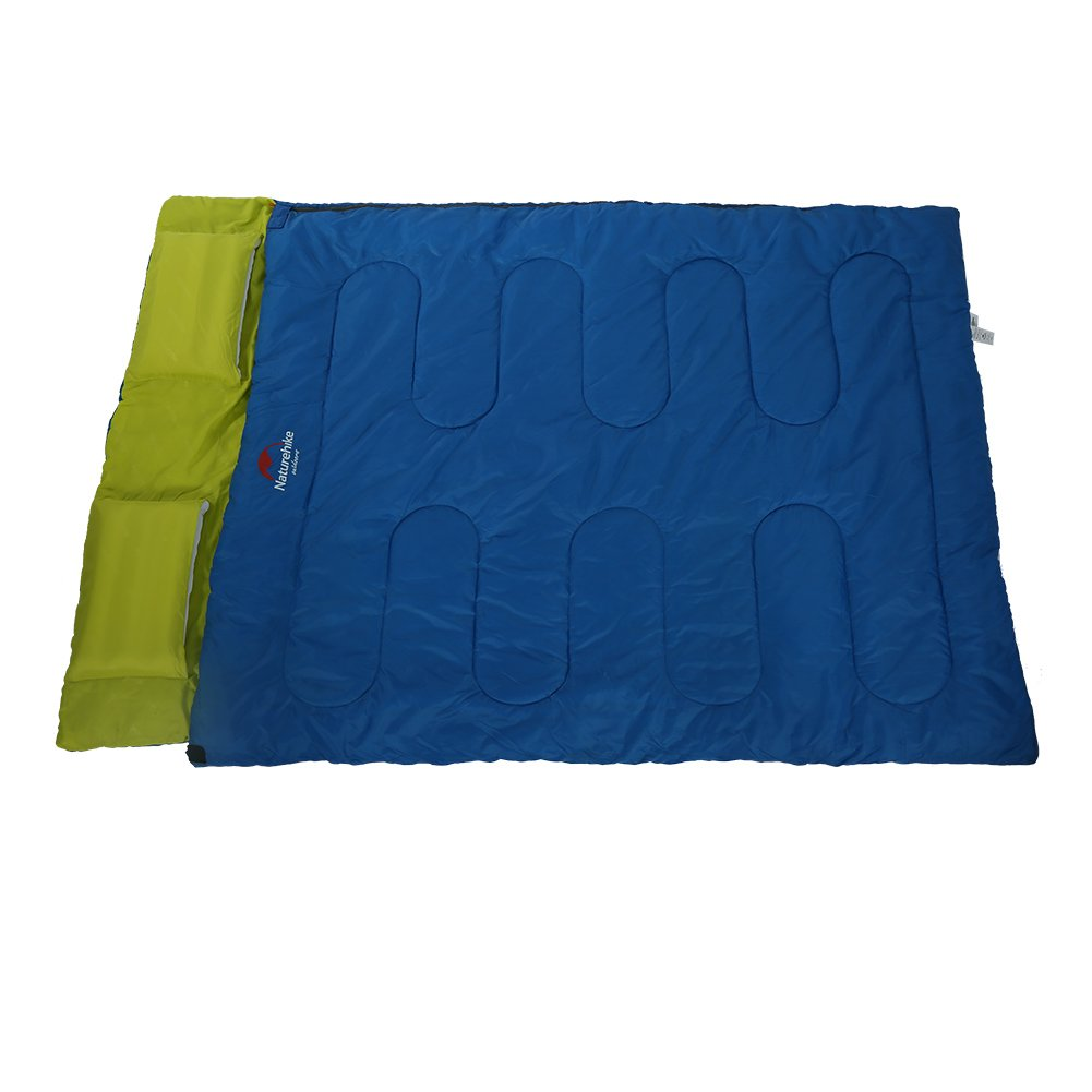 Saco de Dormir Doble, Saco de Dormir PortáTil Creativo de La Forma del Sobre de la Persona con la Almohada para Acampar Yendo de ExcursióN(Verde): ...