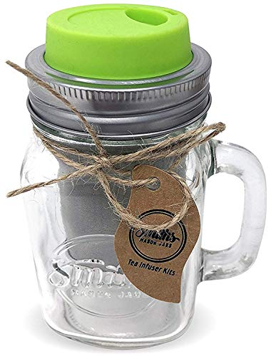 - Cold Brew Coffee Maker Mason Jar Mug and Silicone Lid - Loose Leaf Tea Infuser & Herbal Tea Steeper - Brews, Strains & Steeps Single Cup of Extra Fine Tea Mason Jar Mug and Silicone Drinking Lid