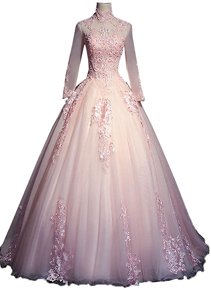 EieenDor Lace Long Sleeves Quinceanera Dresse Ball Gowns High Neck Backless Prom Dresses