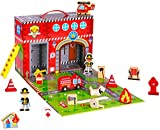Pidoko Kids Fire Station Toy - 19 Pcs Play Set - Magnetic Portable Box - Easy Storage - Perfect Toy Gift Set for Boys and Girls - 3 Year Old and Up - Wooden Accessories
