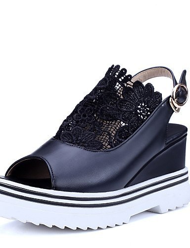 ShangYi Womens Shoes Fleece Wedge Heel Wedges / Comfort / Open Toe Sandals Outdoor / Office & Career Black / White Black