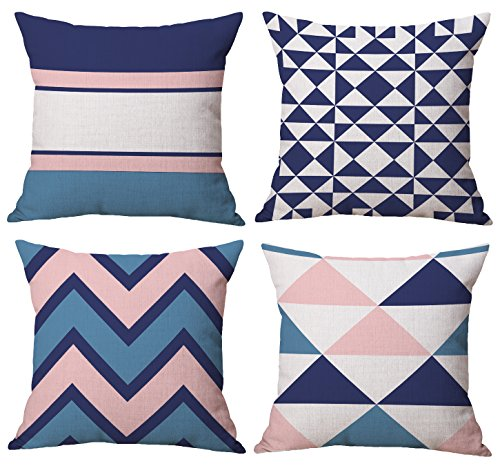 BLUETTEK Modern Simple Geometric Style Cotton & Linen Burlap Square Throw Pillow Covers, 18 x 18 Inches, Pack of 4 (Pink & Blue) - 4 Pcs Throw Pillow Covers/Shell 18 x 18 Inches around (45cm x 45cm), 1~2 cm deviation is allowed due to hand-cutting and sewing Made of durable high quality cotton linen Burlap material, 190-200g per unit, invisible zipper design, safe to machine wash The printed pattern is only available on front side, back is cotton & linen beige color without printing - living-room-soft-furnishings, living-room, decorative-pillows - 51%2BvqQAJouL -