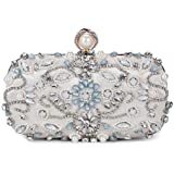 UBORSE Women Noble Floral Pearl Beaded Rhinestone Evening Clutch Wedding Purse