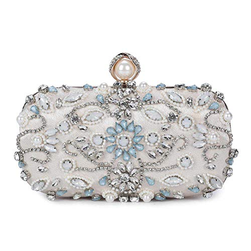 UBORSE Women Noble Floral Pearl Beaded Rhinestone Evening Clutch Wedding - Handbag Jeweled Ivory