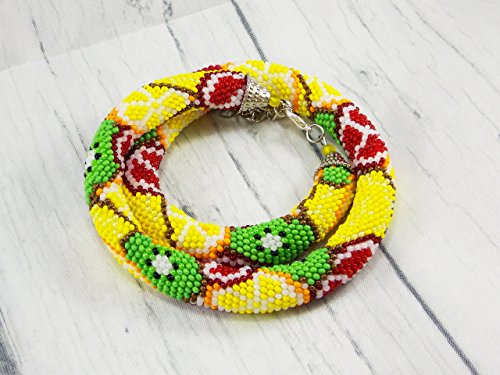 Handmade Funny Christmas gift fake food necklace vegan organic beaded fruit funny summer