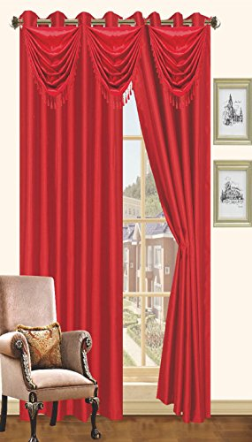 Red Faux Silk Window Curtain Panel 8 Grommets Curtains – 57″X90″, Brown