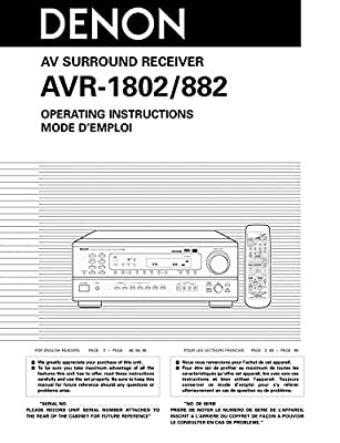 amazon com denon avr 882 avr 1802 receiver owners manual rh amazon com denon avr x3200 manual denon manual avr s720w