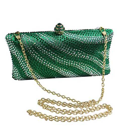Crystal DMIX and Bag Wedding for Prom Evening Green Womens Bridal Clutches Wave r5WZn41rtq