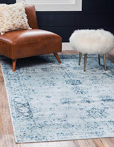 Unique Loom 3134064 Sofia Collection Traditional Vintage Beige Area Rug, 4' x 6' Rectangle, Light Blue (Traditional Blue Rugs)