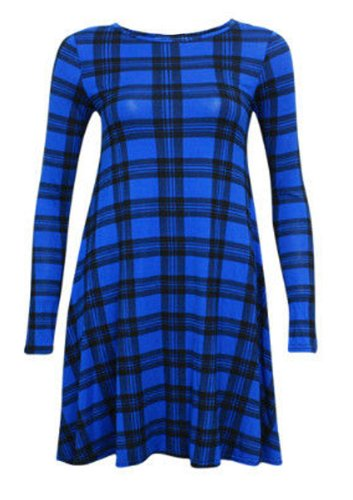 Femmes Uni Écossais Manches Longues Jersey Femme Extensible Évasé Court Robe Évasée 16 18 20 22 24 26 - Bleu Tartan, Femme, EU 44/46