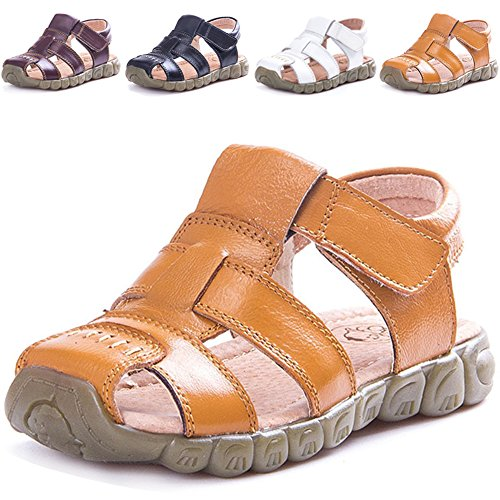 LONSOEN Leather Outdoor Sport Sandals,Fisherman Sandals for Boys(Toddler/Little Kids),Yellow,KSD001 CN22