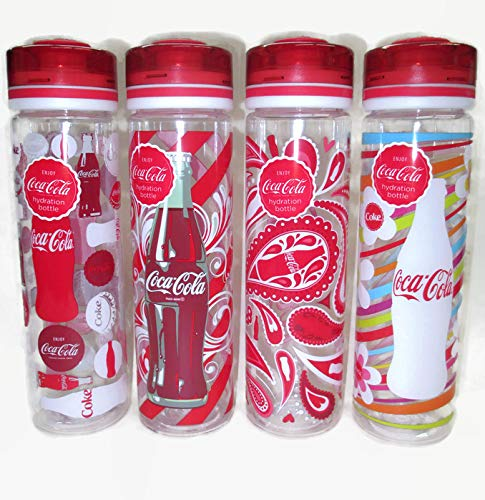 COOL GEAR Set of 4 Coca-Cola Themed Straightwall Chugger Hydration Bottles