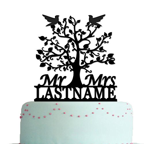 - vspg Tree Birds Wedding Cake Toppers Mr Mrs Personalized Name Date Anniversary Gift