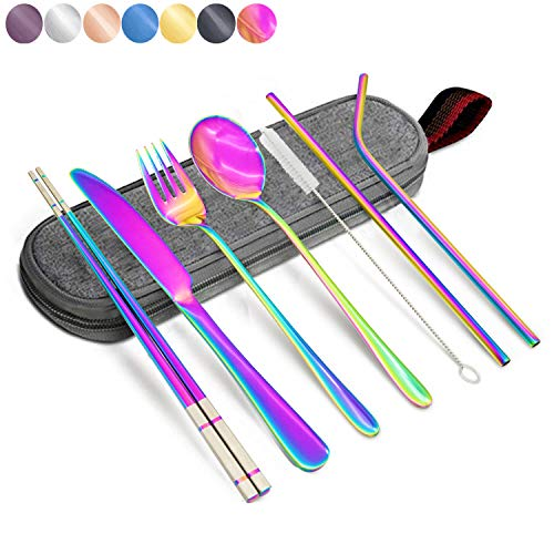 - Annvchi Office Cutlery Set with Case for Lunch School Camping Office - Straw, Straight Straw, Knife, Fork, Spoon, Chopsticks, Cleaning Brush 8 Piece (Rainbow Multicolor)