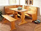Cheap Kitchen Dining Nook – Pine Finish – Comfortably Seats 5 People (Pine Finish)