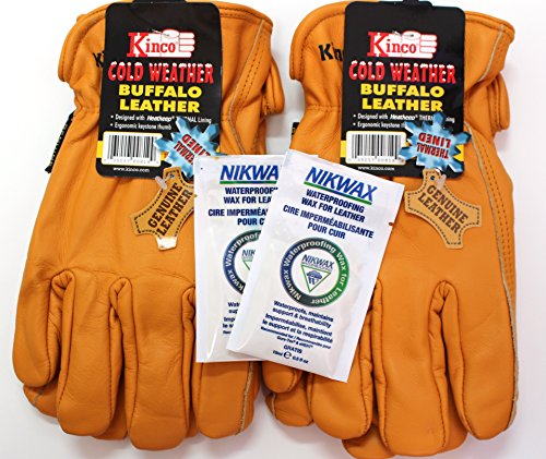 Toughest Cowboy Rodeo (Kinco - Buffalo Leather, Cold Weather, Work Gloves for Men - 2-pack of the Toughest Most Durable, with Nikwax Waterproofing (Medium))