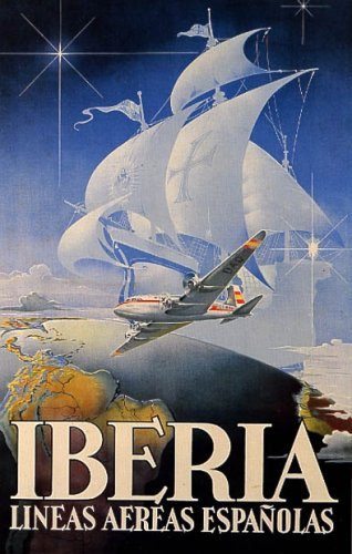 iberia-airplane-plane-globe-sailboat-europe-travel-tourism-spain-vintage-poster-repro