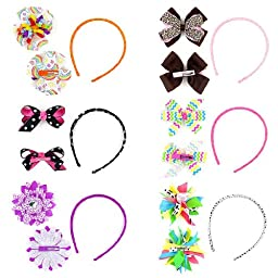 Bundle Monster Interchangeable Mix+Match 3in1 Ribbon Flowers Bows Baby Hair Clips Headbands Combo-Set 1, Fun and Playful