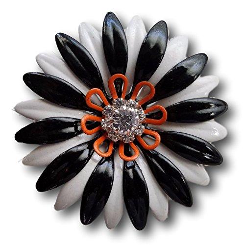 Halloween Enamel Flower Brooch, Black White and (Alicia Halloween Costume)