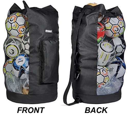 Heavy Duty XL Soccer Mesh Equipment Ball Bag w/Adjustable Shoulder Strap Design for Coach. with an Over-Sized Front Pocket for Your Sporting Accessories. Best for All Outdoor & Water Sports Gears. – DiZiSports Store