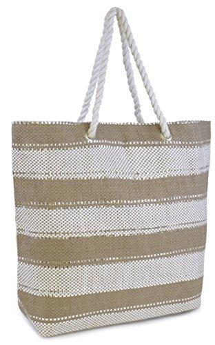 Wide Stripe Design Shoulder/Beach / Shopping Bag with Metallic Thread