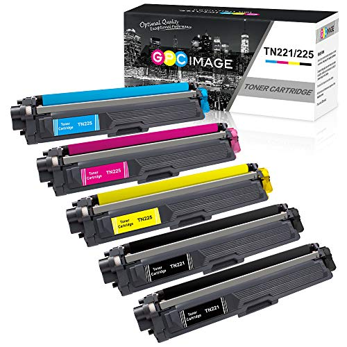GPC Image Compatible Toner Cartridge Replacement for Brother TN221 TN225 to use with MFC-9130CW HL-3170CDW MFC-9340CDW HL-3140CW HL-3180CDW MFC-9330CDW Printer (2 Black, 1 Cyan, 1 Magenta, 1 Yellow) ()