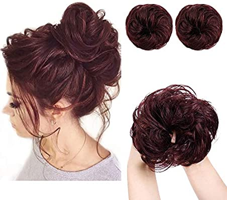 Aisi Queens 2pcs Messy Bun Hair Piece 100 Human Hair Scrunchies Buns Hair Pieces For Women Curly Wavy Black Bun Elegant Chignons Wedding Color Bug Buy Online At Best Price In Uae Amazon Ae