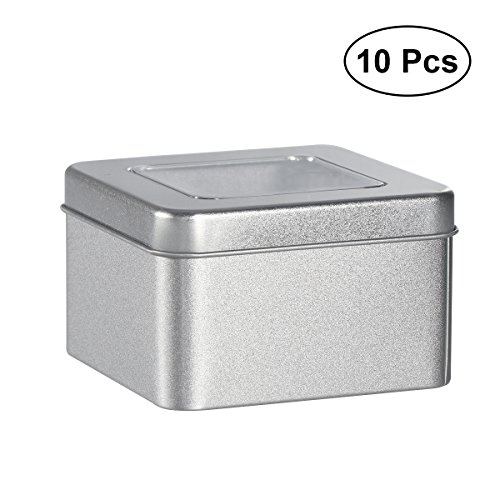 Tin Cube Favor Square - BESTONZON 10PCS Square Tin Cans Empty Cube Steel Box Storage Container for Treats Gifts Favors and Crafts
