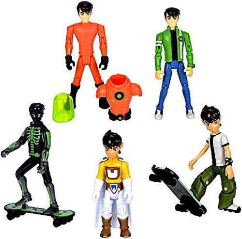 Ben 10 Exclusive Ben Tennyson 4 Inch Action Figure 5Pack XRay Ben, Galactic Enforcer Ben, Plumber Suit Ben, 10 Year Old Ben 16 Year Old Ben Set 1 of 2