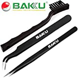 Buyyart New 3 in 1 High Quality ESD Anti Static Tweezers With ESD Brush , Brand BAKU BK ,Made of Stainless Steel