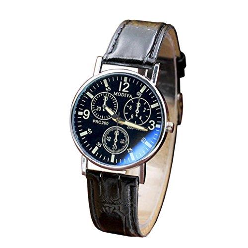 Blue Glass Wrist Watch,Vovomay Men's Quartz Blue Glass Belt Sports Quartz Watch Dial Clock (Black)