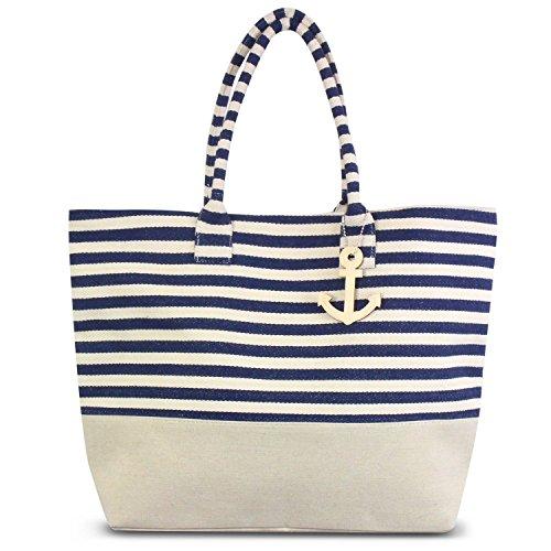 Stripe Large Tote - Zodaca Large Shoulder Tote Bag, Navy/White Stripes
