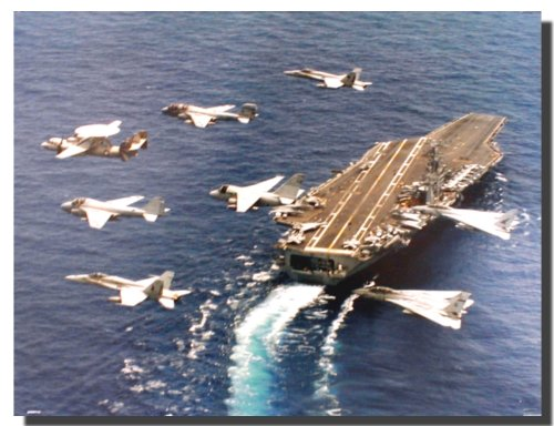 Aircraft Carrier Wall Decor Picture Military Jets Flying by Navy USS George Washington Aviation Art Print Poster (16x20)