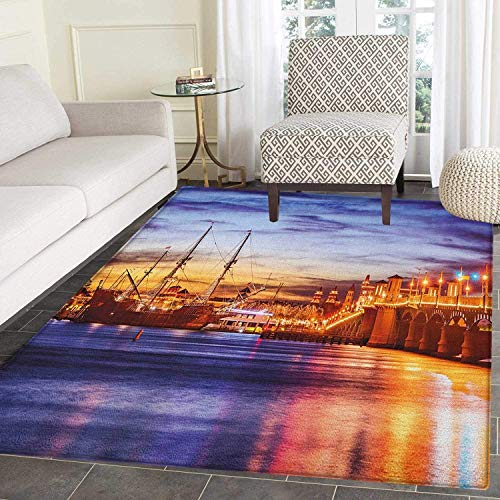 United States Area Rug Carpet St. Augustine Florida Famous Bridge of Lions Dreamy Sunset Majestic Living Dining Room Bedroom Hallway Office Carpet 3