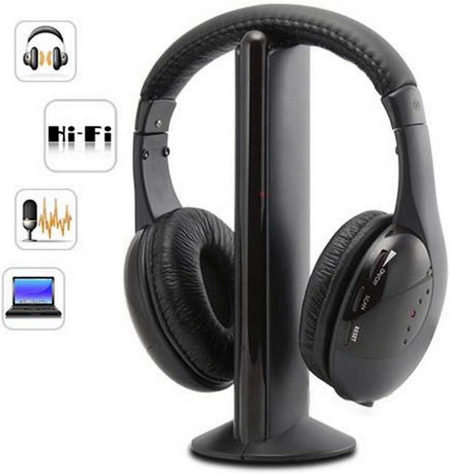SUGEER 2020 Upgraded 5 in 1 Headset Wireless Headphones Cordless RF Headset Earphones for TV DVD PC Bluetooth Wireless Sharing Headphones HiFi Bass Wired Headset w/Mic