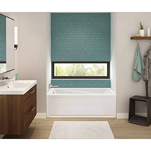 (MAAX 105519-L-000-001 Exhibit Rectangular Acrylic Soaking Bathtub with Left-Hand Drain, 59.75-in L x 30-in W x 17.75-in H, White)