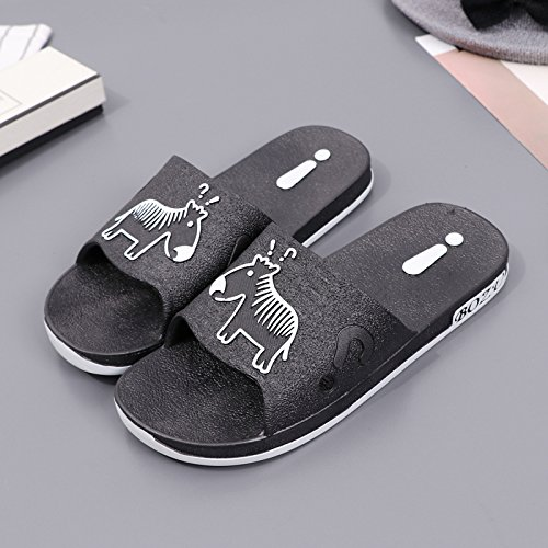 fankou Slippers Male Summer Bathroom Home Interior Bath Massage Soft Anti-Slip Base Men Home Cool Slippers,40, Black