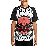 : FGPACWMRV Boys Pirate Skull Weapon Movement Speed Dry Raglan Baseball T-Shirt Hipster Hip Hop Tee Shirt