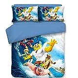 Microfiber Duvet Cover Set 3 Pieces(2 Pillowcases, 1 Duvet Cover) 3D Printed Spongebob Squarepants Underwater Pattern Bedding Set (No Comforter),Full