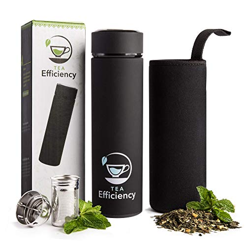 Multi-Use Beverage Tumbler & Travel Mug by Tea Efficiency | Loose Leaf Tea Infuser Water Bottle | Fruit Infused Flask | Hot & Cold Double Wall Insulated Stainless Steel Thermos for Brew Coffee (Black)